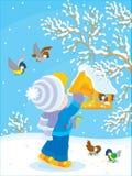 L'enfant alimente des oiseaux illustration libre de droits