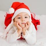 L'enfant attend un cadeau d'an neuf Images stock