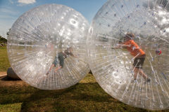 L'enfant a beaucoup d'amusement dans la bille de Zorbing Photo stock