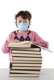 L'enfant d'étudiant a infecté avec la grippe A photographie stock