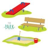 L'enfant d'activité de bascule de bac à sable de banc de parc détendent le vecteur de bande dessinée de jeu Photos stock