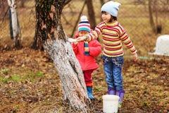 L'enfant dans le jardin Images libres de droits