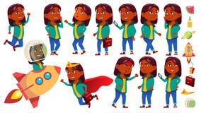 L'enfant de fille pose le vecteur réglé Indien, indou Asiatique Écolier primaire Idée, démarrage, solution future expression illustration libre de droits
