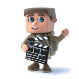 l'enfant de l'explorateur 3d fait un film Images libres de droits
