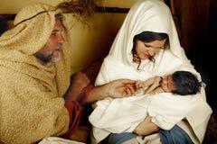 L'enfant de Noël est né Photos libres de droits