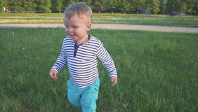 L'enfant drôle courant dans le domaine de fleur, pissenlits mettent en place voler loin Premières opérations banque de vidéos
