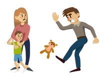 L'enfant est effrayé et caresse jusqu'à sa mère illustration stock