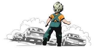 L'enfant est en danger Enfant sur la route Illustration courante illustration stock