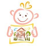L'enfant gai tient une feuille avec l'image d'une maison confortable de village illustration de vecteur