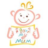 L'enfant gai tient une feuille sur laquelle est écrit j'aime ma maman, créative illustration de vecteur