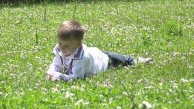 L'enfant heureux avec les vêtements traditionnels dégringolent dans l'herbe verte, nature banque de vidéos
