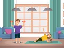 L'enfant heureux faisant des exercices de forme physique de matin autoguident illustration libre de droits