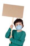 L'enfant a infecté avec la grippe A photographie stock