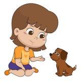 L'enfant jouait avec son bon ami, celui est le chien Vect illustration libre de droits