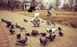 L'enfant joue avec les pigeons Images libres de droits