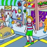 L'enfant marche à travers la rue Image libre de droits