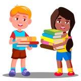L'enfant porte une pile lourde de vecteur de livres Illustration d'isolement illustration libre de droits