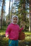 L'enfant rassemble des champignons de couche Image stock