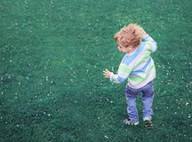 L'enfant sautant l'extérieur insousiant au-dessus de l'herbe verte Photos libres de droits