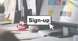 L'engagement joignent le concept d'utilisateur de page de réseau de membre de login Photos libres de droits