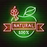 L'enseigne au néon Apple naturel rougeoie dans l'obscurité illustration de vecteur