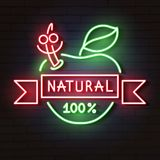L'enseigne au néon Apple naturel rougeoie dans l'obscurité illustration stock