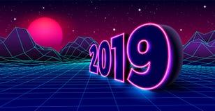 l'enseigne au néon 2019 pour 80s a dénommé la rétro célébration d'Ève de nouvelles années avec le paysage de grille de jeu électr illustration de vecteur