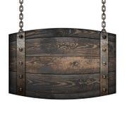 L'enseigne en bois de baril de vintage pour le restaurant accrochant sur des chaînes a isolé l'illustration 3d Photographie stock