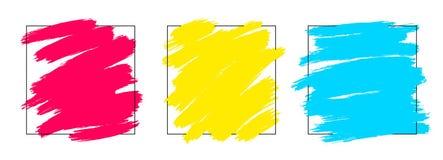 L'ensemble carré artistique de contexte, vecteur avec la brosse frotte les couleurs multi, fond de regard de peinture à l'huile a illustration libre de droits
