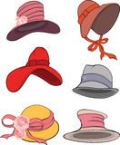 L'ensemble complet de chapeaux femelles Photo stock
