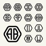 L'ensemble 1 créent des monogrammes de deux lettres dans un hexagone Photographie stock libre de droits