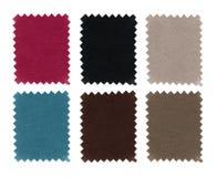 L'ensemble d'échantillon de tissu prélève la texture Couleur de morceaux témoin de plan rapproché Le tissu de rose, bleu, gris, b images libres de droits
