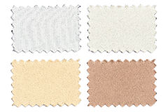 L'ensemble d'échantillon rapièce le tissu de couleur d'isolement sur le blanc Images stock