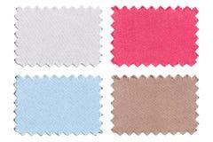 L'ensemble d'échantillon rapièce le tissu de couleur d'isolement sur le blanc Photographie stock