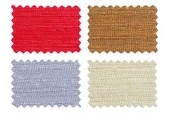 L'ensemble d'échantillon rapièce le tissu de couleur d'isolement sur le blanc Image stock