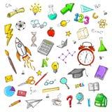 L'ensemble d'éducation colorée gribouille l'aquarelle illustration de vecteur