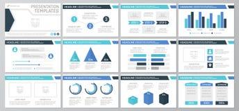 L'ensemble d'éléments de bleu et de turquoise pour le calibre universel de présentation glisse avec des graphiques et des diagram illustration de vecteur