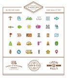 L'ensemble d'éléments de camp de camping de vecteur et l'illustration d'icônes d'activité en plein air peuvent être employés comm illustration stock
