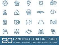 L'ensemble d'éléments de camp de camping de vecteur et l'illustration d'icônes d'activité en plein air peuvent être employés comm illustration libre de droits