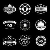L'ensemble d'éléments de conception de boutique de restaurant dans le style de vintage pour le Logotype, le label, l'insigne et a Images libres de droits