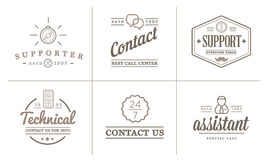 L'ensemble d'éléments de service de contactez-nous et l'appui d'aide peuvent être employés comme logo illustration de vecteur