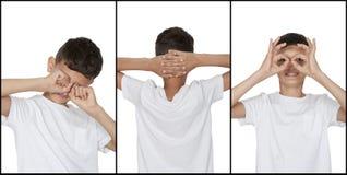 L'ensemble d'émotions de garçon de garçon, fatigue, détendent et ont l'amusement Photos libres de droits