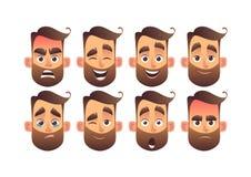 L'ensemble d'émotions faciales masculines avec différentes expressions dirigent l'illustration illustration de vecteur