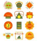 L'ensemble d'été badges, des rubans et marque le hippie illustration de vecteur