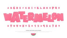 L'ensemble d'été a stylisé des lettres et des nombres d'alphabet illustration de vecteur