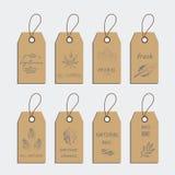 L'ensemble d'étiquette d'aliment biologique et l'autocollant de label conçoivent des éléments illustration libre de droits