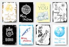 L'ensemble d'étiquettes de carte de Noël, style tiré par la main ne peut pas attendre Christm illustration stock