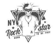 L'ensemble d'étoile de rock pour des T-shirts et le tatouage conçoivent Image stock
