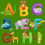 L'ensemble d'alphabet d'animaux pour des enfants pêchent les lettres, éducation d'ABC d'amusement de bande dessinée dans l'école  Images stock