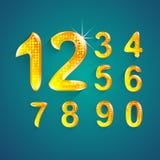 L'ensemble d'alphabet numérote le style de couleurs de cristal 0 9 Photos libres de droits